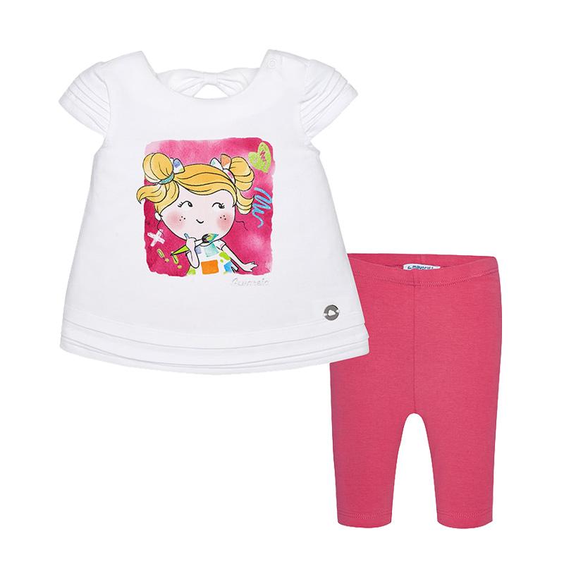 Σετ άσπρη μπλούζα κοντομάνικη με ροζ τικλ κολάν