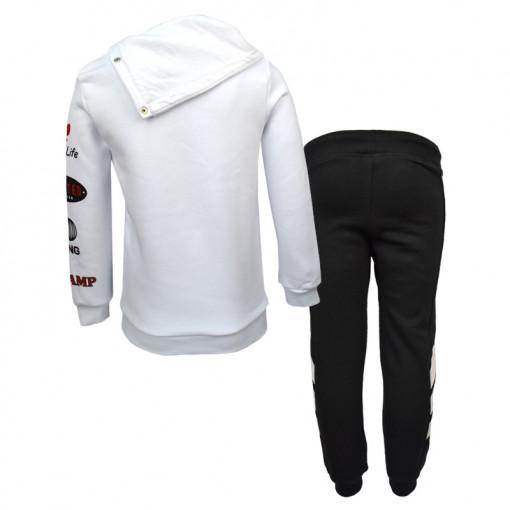 """Σετ άσπρο μακρυμάνικη μπλούζα με ψηλό λαιμό και μαύρη φόρμα παντελόνι """"Trust No1"""" πίσω μέρος"""