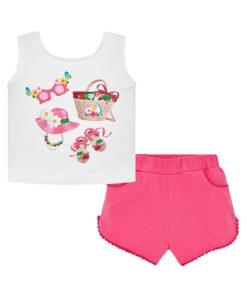 """Σετ αμάνικη λευκή μπλούζα και σορτσάκι ροζ """"Summer Time"""""""