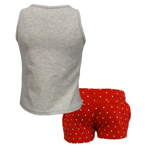"""Σετ αμάνικη μπλούζα γκρι με σορτσάκι κόκκινο """"Σανδάλια"""" πίσω μέρος"""