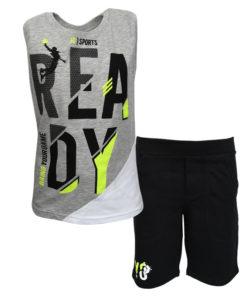 """Σετ αμάνικη μπλούζα γκρι με φόρμα σορτσάκι μαύρο """"Ready"""""""