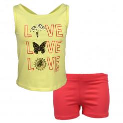 """Σετ αμάνικη μπλούζα κίτρινη με σορτσάκι κοραλλί """"Love Love Love"""""""