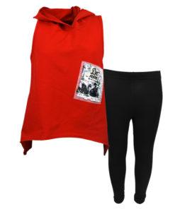 """Σετ αμάνικη μπλούζα κόκκινη με κολάν μαύρο """"Κύκνοι"""""""