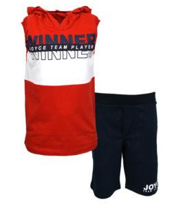 """Σετ αμάνικη μπλούζα κόκκινη με κουκούλα και φόρμα σορτσάκι μπλε """"Winner"""""""