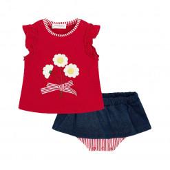 """Σετ αμάνικη μπλούζα κόκκινη με φούστα-βρακάκι """"Μαργαρίτες"""""""