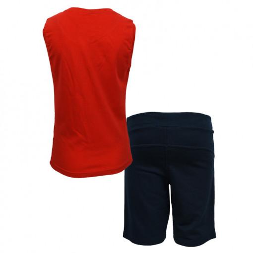 """Σετ αμάνικη μπλούζα κόκκινη με φόρμα βερμούδα μαύρη """"Ready"""" πίσω μέρος"""