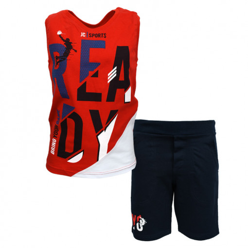 """Σετ αμάνικη μπλούζα κόκκινη με φόρμα βερμούδα μαύρη """"Ready"""""""