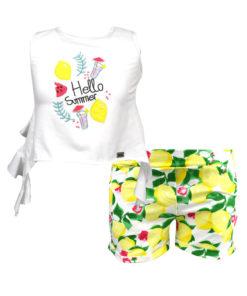 """Σετ αμάνικη μπλούζα λευκή με σορτσάκι κίτρινο """"Hello Summer"""""""