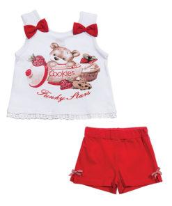 """Σετ αμάνικη μπλούζα λευκή με σορτσάκι κόκκινο """"Cookies"""""""
