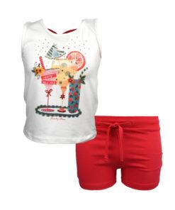 """Σετ αμάνικη μπλούζα λευκή με σορτσάκι κόκκινο """"Party all Day"""""""