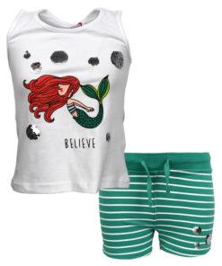 """Σετ αμάνικη μπλούζα λευκή με σορτσάκι πράσινο """"Γοργόνα"""""""