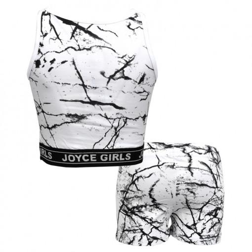 """Σετ αμάνικη μπλούζα λευκή με σοτσάκι λευκό """"JYC Athletics"""" πίσω μέρος"""