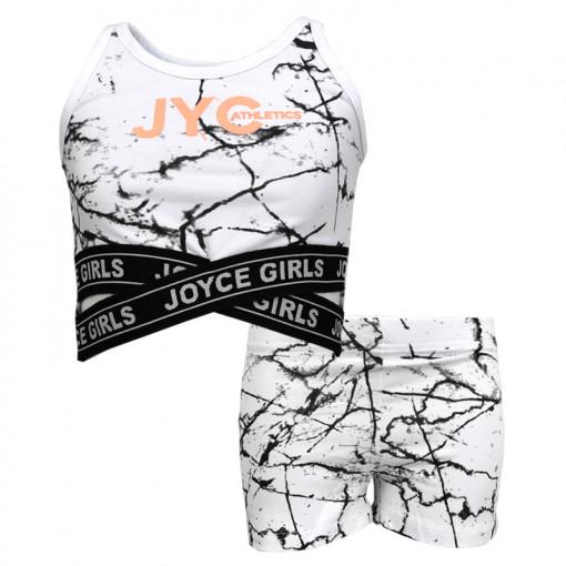"""Σετ αμάνικη μπλούζα λευκή με σοτσάκι λευκό """"JYC Athletics"""""""