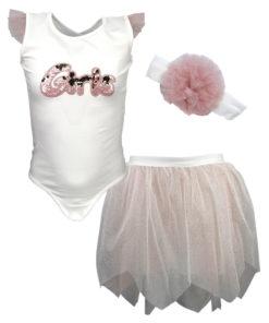 """Σετ αμάνικη μπλούζα λευκή με φούστα ροζ και κορδέλα ροζ """"Girls"""""""