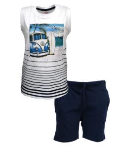 """Σετ αμάνικη μπλούζα λευκή με φόρμα βερμούδα μπλε """"Σανίδα Surf"""""""