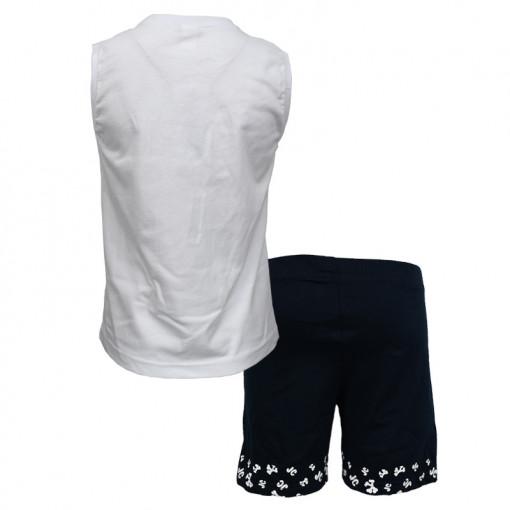 """Σετ αμάνικη μπλούζα λευκή με φόρμα βερμούδα μπλε """"Parrot"""" πίσω μέρος"""
