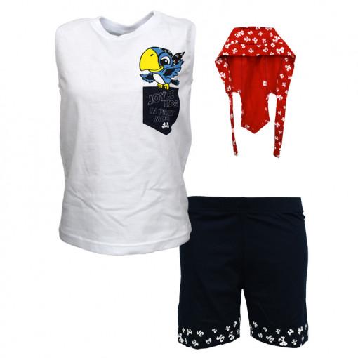 """Σετ αμάνικη μπλούζα λευκή με φόρμα βερμούδα μπλε """"Parrot"""""""