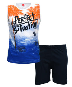 """Σετ αμάνικη μπλούζα λευκή με φόρμα βερμούδα μπλε """"Perfect Situation"""""""