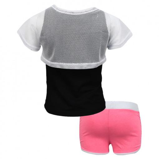 """Σετ αμάνικη μπλούζα μαύρη με σορτσάκι ροζ """"Joyce Wheels"""" πίω μέρος"""