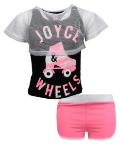 """Σετ αμάνικη μπλούζα μαύρη με σορτσάκι ροζ """"Joyce Wheels"""""""