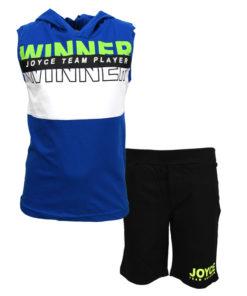 """Σετ αμάνικη μπλούζα μπλε με κουκούλα και φόρμα βερμούδα μαύρη """"Winner"""""""