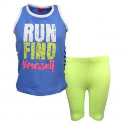 """Σετ αμάνικη μπλούζα μπλε με ποδηλατικό κολάν λαχανί """"Run Find Yourself"""""""