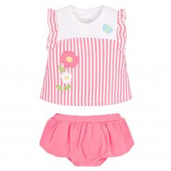 """Σετ αμάνικη μπλούζα ριγέ ροζ με βρακάκι ροζ """"Πεταλούδα"""""""