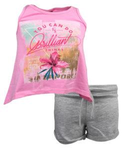 """Σετ αμάνικη μπλούζα ροζ με σορτσάκι γκρι """"Brilliant"""""""