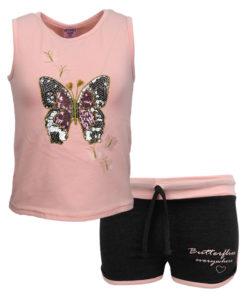 """Σετ αμάνικη μπλούζα ροζ με σορτσάκι μαύρο """"Πεταλούδα"""""""