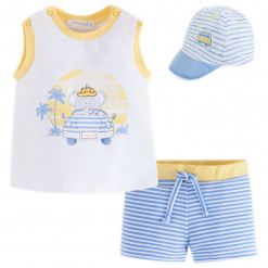 """Σετ για τη θάλασσα καπέλο γαλάζιο μπλούζα λευκή και μαγιό γαλάζιο """"Παραλία"""""""