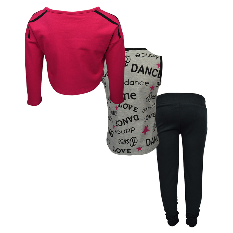 Σετ γκρι αμάνικη μπλούζα και φούξια ρόουζ κοντομάνικη κοντή μπλούζα με  μαύρη φόρμα παντελόνι