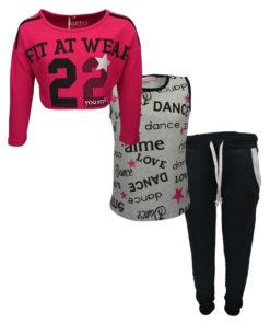 """Σετ γκρι αμάνικη μπλούζα και φούξια ρόουζ κοντομάνικη κοντή μπλούζα με μαύρη φόρμα παντελόνι """"Fit at Wear"""""""