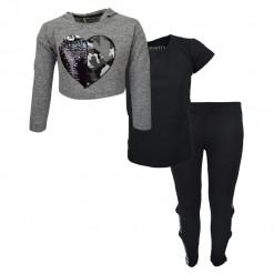 """Σετ γκρι μακρυμάνικη κοντή μπλούζα με μαύρη κοντομάνικη μπλούζα και μαύρο κολάν """"Καρδιά με παγιέτες"""""""