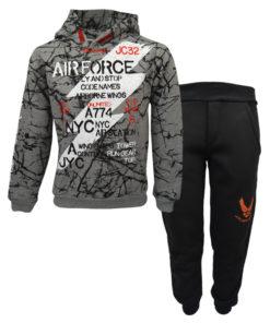 """Σετ γκρι μακρυμάνικη μπλούζα με μαύρη φόρμα παντελόνι """"Air Force"""""""