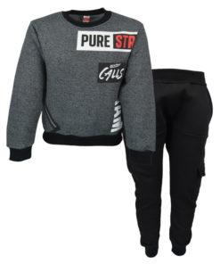 """Σετ γκρι μακρυμάνικη μπλούζα με μαύρη φόρμα παντελόνι """"Pure"""""""