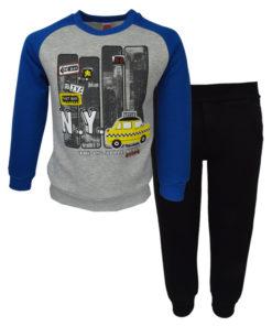 """Σετ γκρι μακρυμάνικη μπλούζα με μαύρη φόρμα παντελόνι """"Taxi"""""""