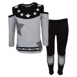 """Σετ γκρι μακρυμάνικη μπλούζα με μαύρο κολάν """"Αστέρια"""""""