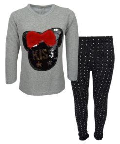 """Σετ γκρι μακρυμάνικη μπλούζα με μαύρο κολάν """"Kiss"""""""