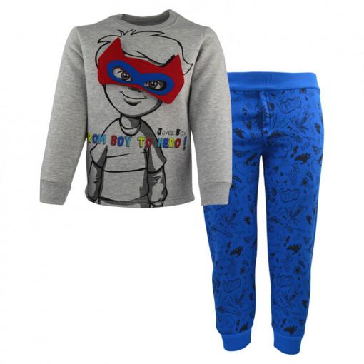 """Σετ γκρι μακρυμάνικη μπλούζα με μπλε φόρμα παντελόνι """"From Boy to Hero"""" με μάσκα"""