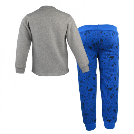 """Σετ γκρι μακρυμάνικη μπλούζα με μπλε φόρμα παντελόνι """"From Boy to Hero"""" πίσω μέρος"""
