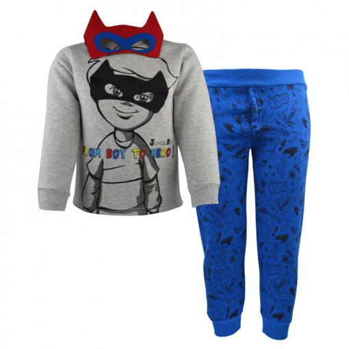 """Σετ γκρι μακρυμάνικη μπλούζα με μπλε φόρμα παντελόνι """"From Boy to Hero"""" χωρίς μάσκα"""