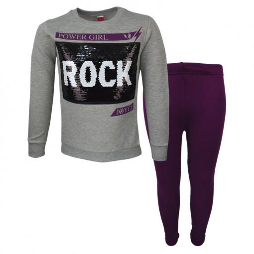 """Σετ γκρι μακρυμάνικη μπλούζα με μωβ κολάν """"Rock"""""""