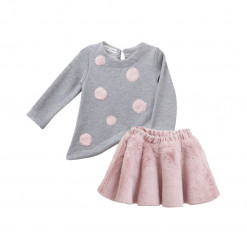 Σετ γκρι μακρυμάνικη μπλούζα με ροζ βελούδινη φούστα και γκέτα