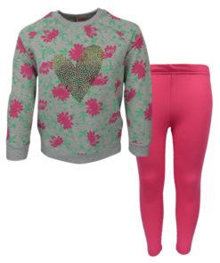 """Σετ γκρι μακρυμάνικη μπλούζα με φούξια κολάν """"Flowers Heart"""""""