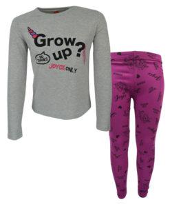 """Σετ γκρι μακρυμάνικη μπλούζα με φούξια κολάν """"Grow Up"""""""