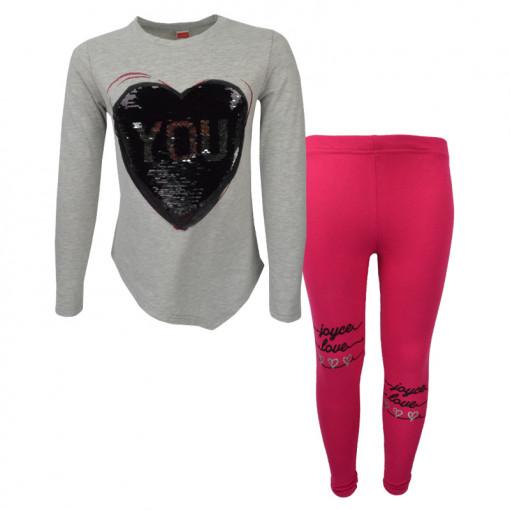 """Σετ γκρι μακρυμάνικη μπλούζα με φούξια κολάν """"Heart Me"""""""