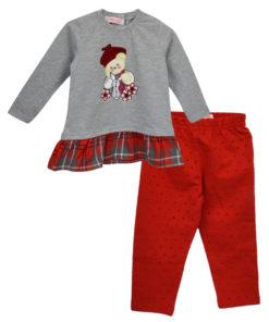 """Σετ γκρι φόρεμα μακρυμάνικο με κόκκινο κολάν """"Αρκουδάκι"""""""