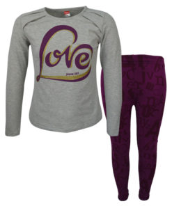 """Σετ γρκι κοντομάνικη μπλούζα με μωβ κολάν """"Love"""""""