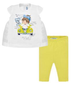 """Σετ διάτρητη κοντομάνικη λευκή μπλούζα με κολάν κίτρινο """"Κοριτσάκι σε Αυτοκίνητο"""""""