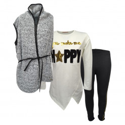 """Σετ εκρού μακρυμάνικη μπλούζα με γκρι γούνινο γιλέκο και μαύρο κολάν """"Happy"""""""